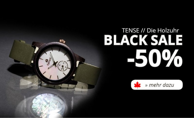 TENSE Holzuhren Black Sale