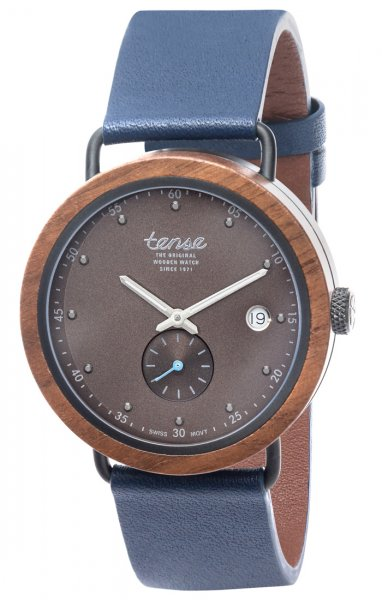TENSE Wooden Watch // Hudson Hybrid Leather Walnut Wood Black