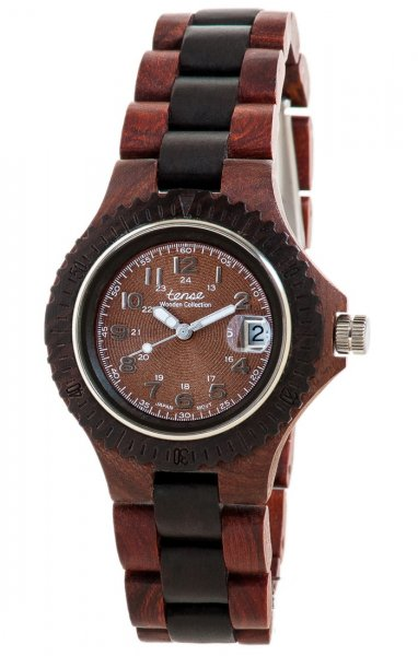 TENSE Holzuhr // Womens Compass Karriholz Black Oak