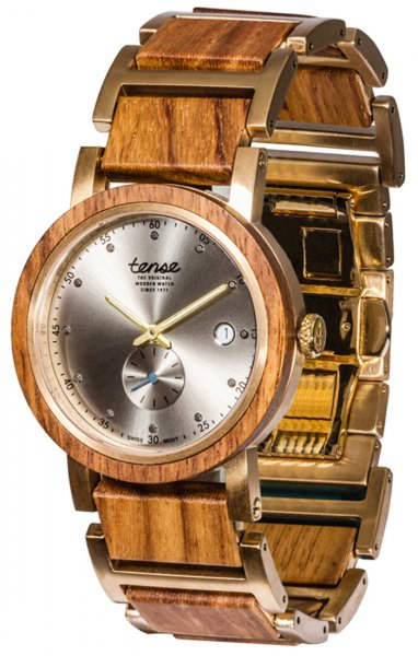 TENSE Wooden Watch // Hudson Hybrid Teak Wood Gold