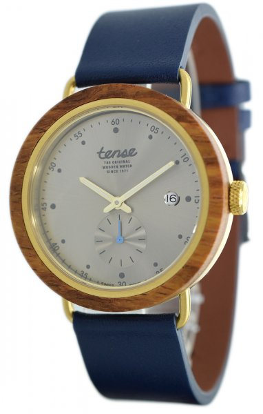 TENSE Wooden Watch // Hudson Hybrid Leather Teak Wood Gold