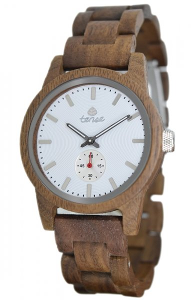 TENSE Wooden Watch // Mens Hampton Walnut Wood White