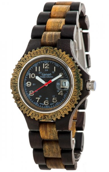TENSE Wooden Watch // Mens Compass Black Oak Greenwood