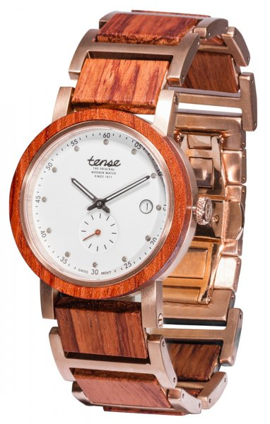 TENSE Wooden Watch // Hudson Hybrid Karriwood Rose-Gold