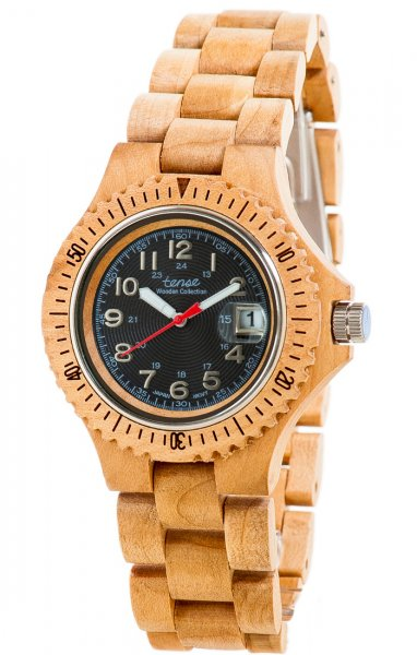 TENSE Wooden Watch // Mens Compass Maple Wood