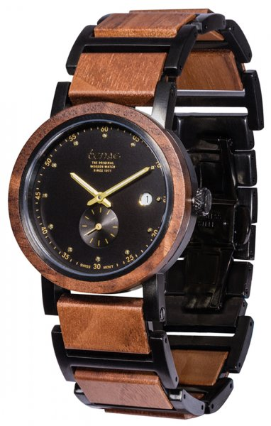 TENSE Wooden Watch // Hudson Hybrid Walnut Wood Black